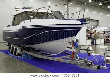 MOSCOW - MARCH 09 2017: Yacht for 10 International boat show in Moscow. Russia.