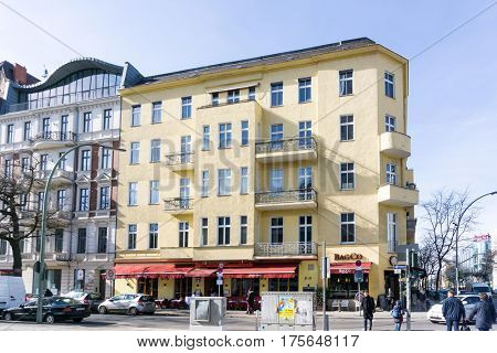 BERLIN, GERMANY- March 4,2017 : Typical Street view JMarch 4,2017 in Berlin, Germany. Berlin is the capital of Germany. With a population of approximately 3.5 million people.BERLIN, GERMANY