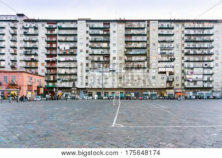NAPLES, ITALY - January 28, 2017 : Street view of old town in Naples city. January 28, 2017, Naples, Italy
