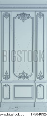 Wall panels in classical style with silvering. 3d rendering
