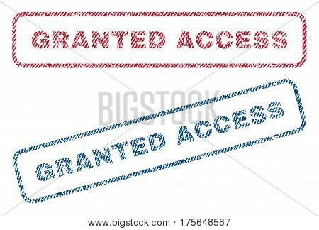 Granted Access text textile seal stamp watermarks. Blue, red fabric vectorized texture. Vector caption inside rounded rectangular banner. Rubber sign with fiber textile structure.