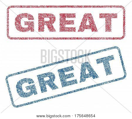 Great text textile seal stamp watermarks. Blue, red fabric vectorized texture. Vector caption inside rounded rectangular banner. Rubber sign with fiber textile structure.