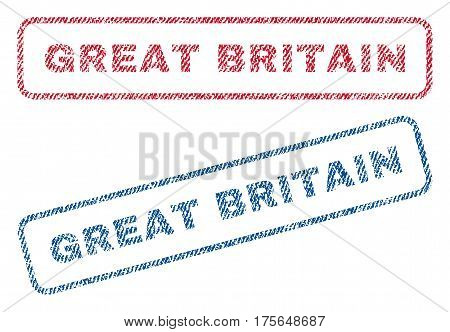 Great Britain text textile seal stamp watermarks. Blue, red fabric vectorized texture. Vector caption inside rounded rectangular shape. Rubber sticker with fiber textile structure.
