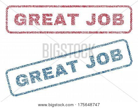 Great Job text textile seal stamp watermarks. Blue, red fabric vectorized texture. Vector tag inside rounded rectangular banner. Rubber sticker with fiber textile structure.