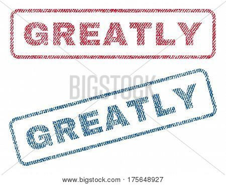 Greatly text textile seal stamp watermarks. Blue, red fabric vectorized texture. Vector caption inside rounded rectangular shape. Rubber sign with fiber textile structure.