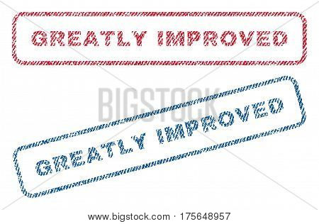 Greatly Improved text textile seal stamp watermarks. Blue, red fabric vectorized texture. Vector tag inside rounded rectangular shape. Rubber sticker with fiber textile structure.