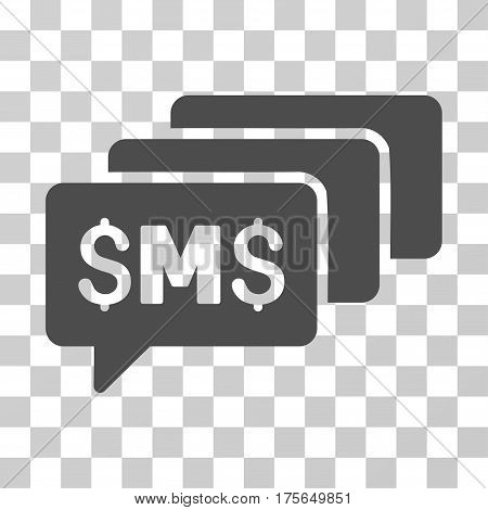 SMS Messages icon. Vector illustration style is flat iconic symbol, gray color, transparent background. Designed for web and software interfaces.