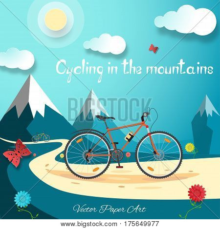 Vector poster of Cycling in the mountains on the gradient blue background with sun clouds mountains flowers and butterflies.