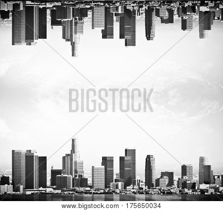 Abstract upside down city on clear sky background. Copy space. Black and white image