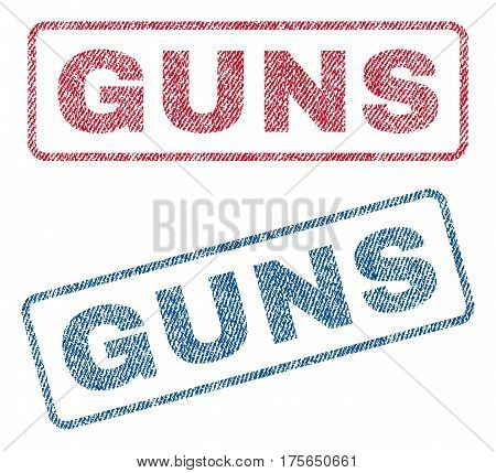 Guns text textile seal stamp watermarks. Blue, red fabric vectorized texture. Vector tag inside rounded rectangular banner. Rubber sticker with fiber textile structure.