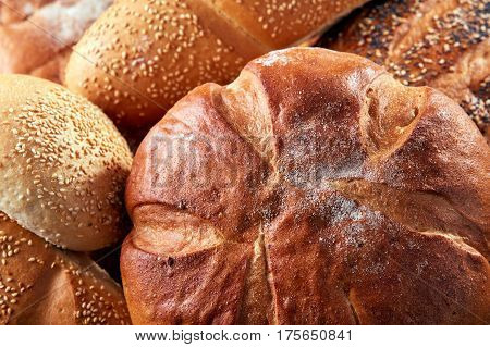 Different kinds of bread and bread rolls on board from above. Kitchen or bakery poster design. Close-up. Baker and tasty. Background with bread.