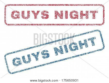 Guys Night text textile seal stamp watermarks. Blue, red fabric vectorized texture. Vector caption inside rounded rectangular shape. Rubber sign with fiber textile structure.