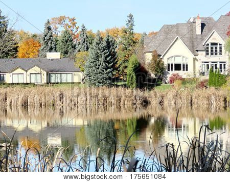 House on the bank of a pond in Thornhill Canada November 6 2016