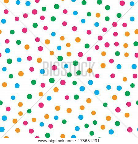 Colorful circle seamless pattern on white background. Vector illustration for bright happy design. Light color. Round dot shape. Random size spot Art decorative wallpaper Pack of random circle shape