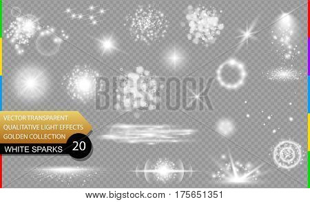 Isolated white sparks. Glow transparent vector light effect set lens flare explosion glitter spark sun flash and star burst. Abstract translucent special element design. Shine sparkling round