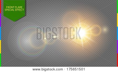 Abstract golden front sun lens flare translucent special light effect design. Vector blur in motion glow glare. Isolated transparent background. Decor element. Horizontal star burst rays and spotlight poster
