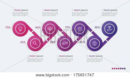 Timeline Vector Infographic Design With Ellipses 7 Steps