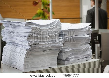 Stack of paper in the modern office