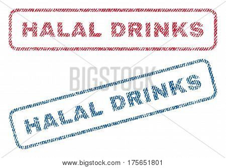 Halal Drinks text textile seal stamp watermarks. Blue, red fabric vectorized texture. Vector caption inside rounded rectangular shape. Rubber emblem with fiber textile structure.