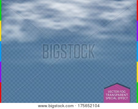 Cloud fog or smoke isolated transparent special effect. White vector cloudiness mist or smog background. Blue sky haze steam overlay illustration