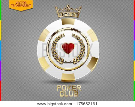 VIP poker luxury white and golden chip vector. Royal poker club casino emblem with crown laurel wreath and spades isolated on transparent background