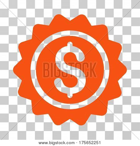 Banking Stamp icon. Vector illustration style is flat iconic symbol, orange color, transparent background. Designed for web and software interfaces.