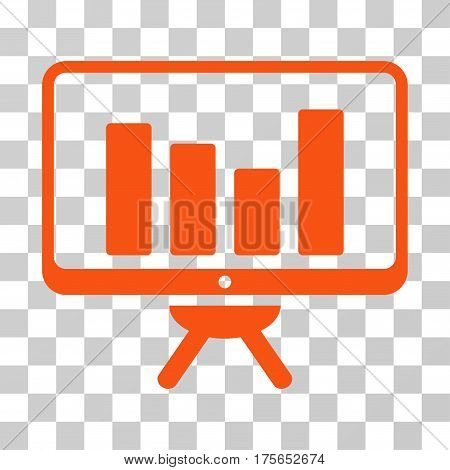 Bar Chart Monitoring Board icon. Vector illustration style is flat iconic symbol, orange color, transparent background. Designed for web and software interfaces.