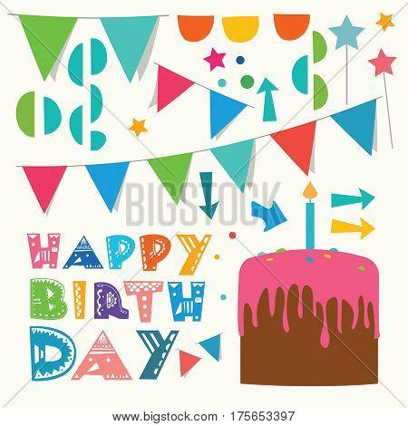 Set of Happy birhtday greeting design elements