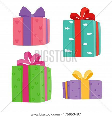 Christmas presents collection. Vector illustration of cartoon gifts in bag isolated on white