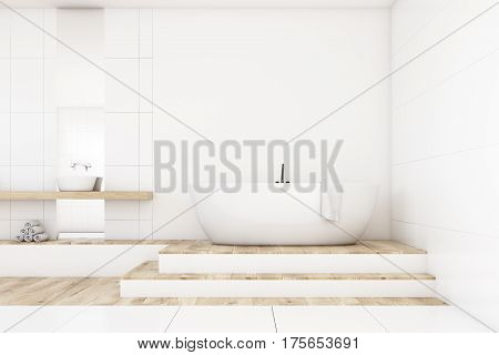 Bathroom With Two Mirrors, White, Front