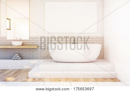 Bathroom With A Mirror And Poster, White, Toned