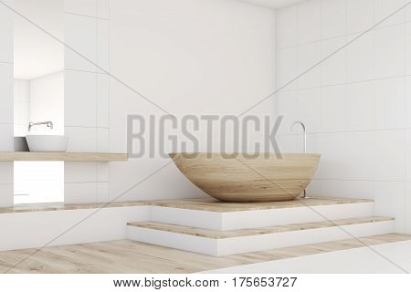 Bathroom Corner With A Mirror, Wood