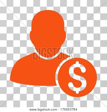 Businessman icon. Vector illustration style is flat iconic symbol, orange color, transparent background. Designed for web and software interfaces.