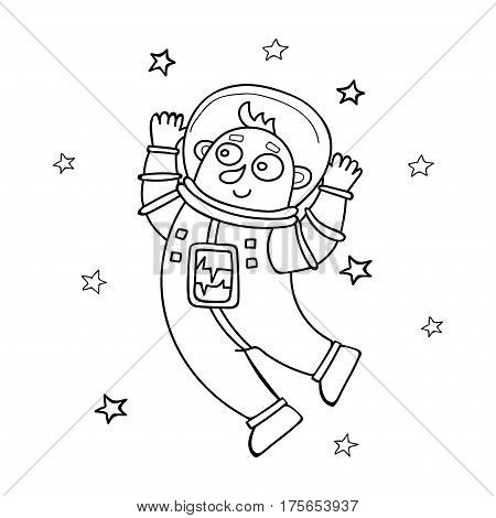 Cartoon astronaut floating isolated on white. Vector illustration in doodle style.