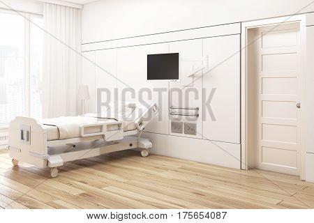 Corner Of A Beige Hospital Ward