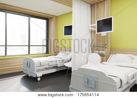 Ward With Two Beds, Yellow, Side View