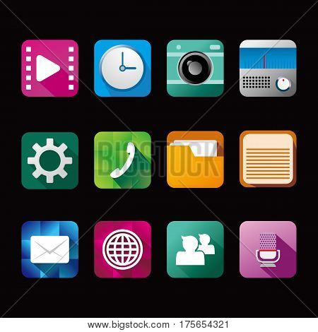illustration icons for mobile devices in one set