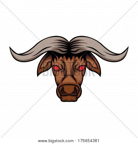 illustration angry bull's head appears on the front
