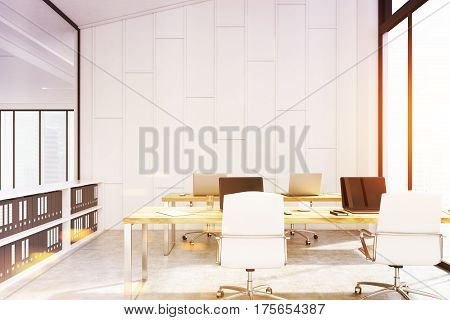 Office With Shelves And Computers, Toned