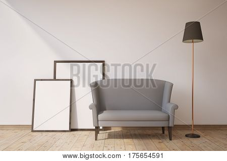 Gray Sofa And Posters