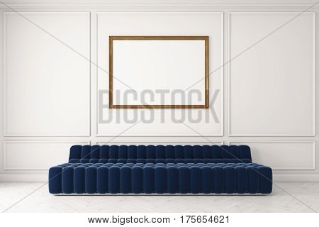 Blue Sofa Against White Wall, Poster