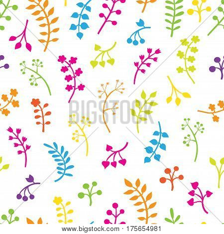 Vector floral seamless pattern with leaves and flowers. Spring or summer design for invitation, wedding or greeting cards