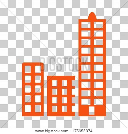City icon. Vector illustration style is flat iconic symbol, orange color, transparent background. Designed for web and software interfaces.