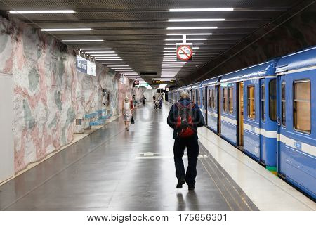 Danderyd Sweden - September 10 2016: The passengers have disembarked the train at the Stockholm metro's terminus Morby Centrum on the red line.