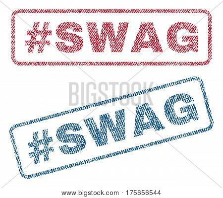 Hashtag Swag text textile seal stamp watermarks. Blue, red fabric vectorized texture. Vector caption inside rounded rectangular banner. Rubber sign with fiber textile structure.