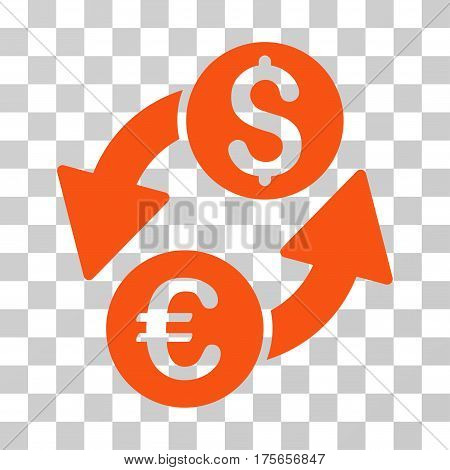 Euro Dollar Exchange icon. Vector illustration style is flat iconic symbol, orange color, transparent background. Designed for web and software interfaces.