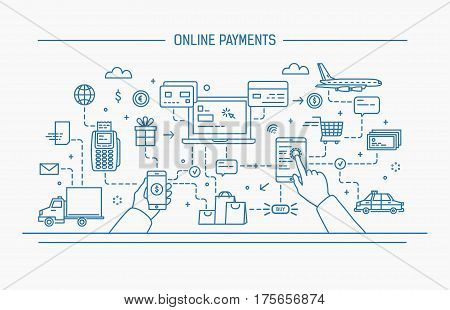 online payments, money transfer, financial transaction. Line art flat contour vector illustration.