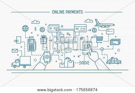online payments, money transfer, financial transaction. Line art flat contour vector illustration.