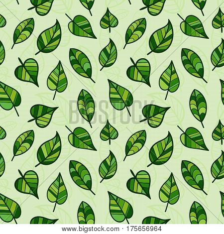 Seamless Pattern of Hand Drawn Light Green Leaves. Spring Continuous Background for Cloth Fabric Textile Tissue.