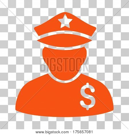 Financial Policeman icon. Vector illustration style is flat iconic symbol, orange color, transparent background. Designed for web and software interfaces.